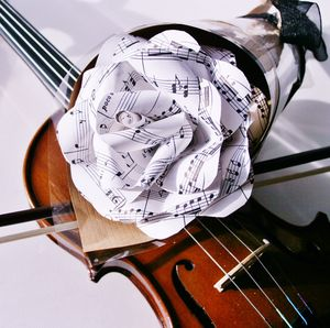 Musical Score Paper Rose - artificial flowers & plants