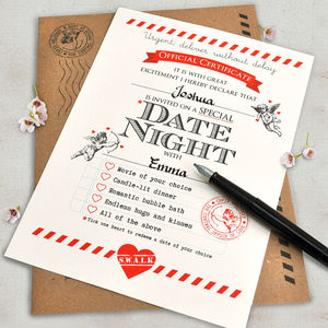 Personalised Valentine's 'Date Night' Certificate - love tokens for him