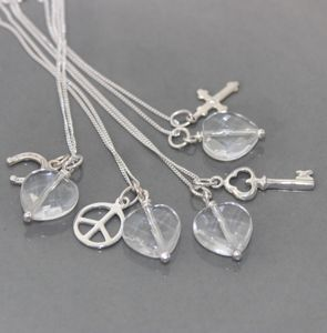 Crystal Pendant Necklace With Silver Charms