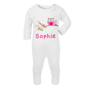 Personalised Owl Babygrow - new baby gifts