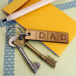 Personalised Dad Or Daddy Scrabble Keyring - token gifts for dad