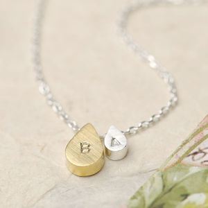 Personalised Mother And Baby Droplet Necklace - mixed metals