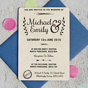Natural Floral Wooden Wedding Invitation - wedding stationery