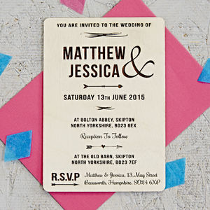 Natural Arrow Wooden Wedding Invitation - wedding stationery