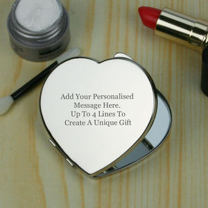 Silver Plated Engraved Heart Compact Mirror