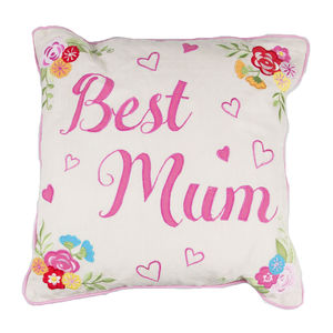 Best Mum Embroidered Square Cushion - cushions