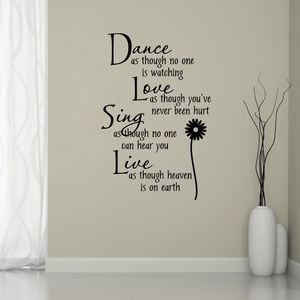 Dance Love Sing Live Wall Sticker - children's room