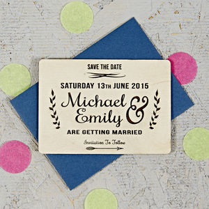 Natural Floral Wooden Save The Date - invitations