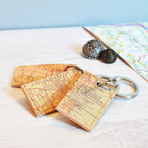 Personalised Map Leather Keyring - frequent travellers