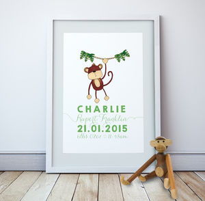 Personalised Monkey Wall Print