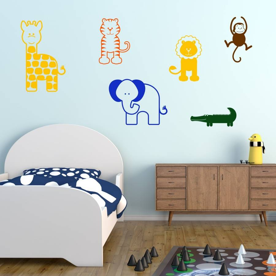 nursery animal wall stickers by mirrorin baby blue nursery wall art jungle wall decals boy wall
