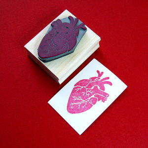 Anatomical Heart Rubber Stamp - ribbon & gift tags