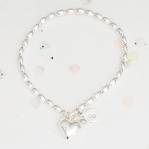 Kassidy Personalised Silver Heart Bracelet - flower girl jewellery
