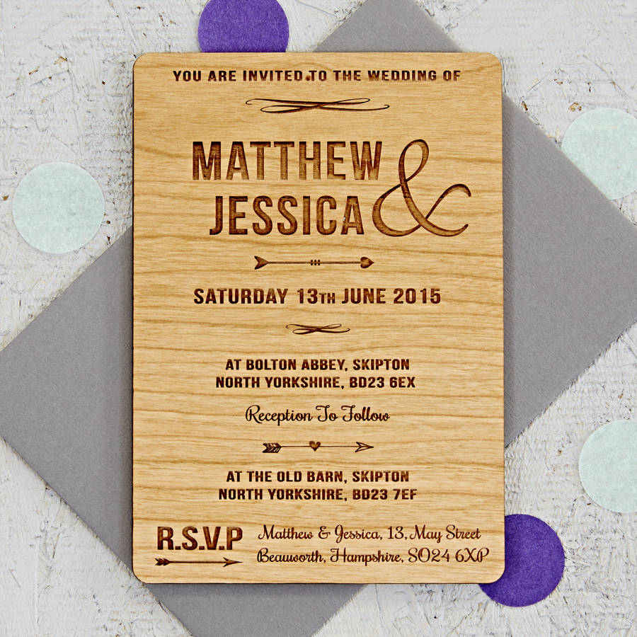 arrow wooden wedding invitation - Wood Wedding Invitations