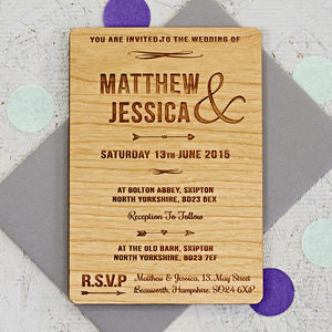 Arrow Wooden Wedding Invitation - wedding stationery