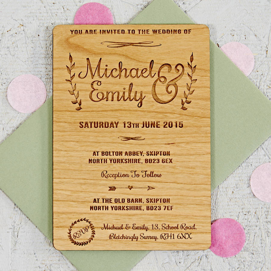 Floral Wooden Wedding Invitation By Sophia Victoria Joy
