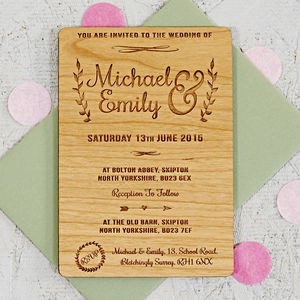 Floral Wooden Wedding Invitation - wedding stationery