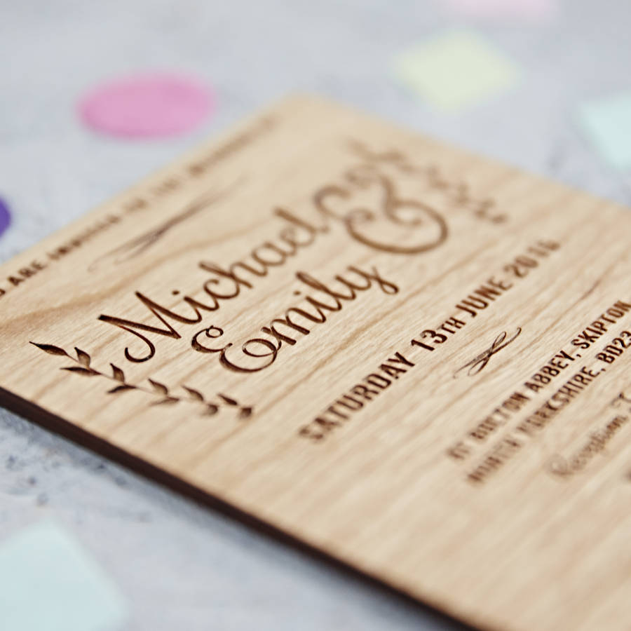 floral wooden wedding invitation by sophia victoria joy ...