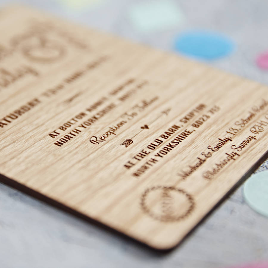 floral wooden wedding invitation - Wood Wedding Invitations
