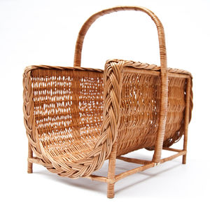 Wicker Log Basket On Legs
