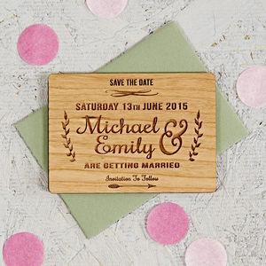 Floral Wooden Save The Date - your autumn wedding