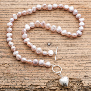 Freshwater Pearl Necklace With Silver Puffed Heart - necklaces & pendants