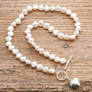 Freshwater Pearl Necklace With Silver Puffed Heart