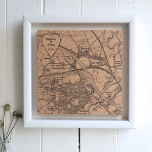 Personalised Heart Location Map Print On Wood - 5th anniversary: wood