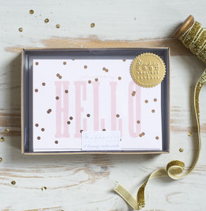 'Hello' Gold Polka Notecard Set - notelets