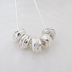 50th Birthday Silver Beads Necklace