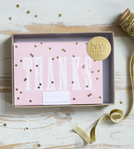 'Thanks' Gold Polka Notecard Set - thank you cards