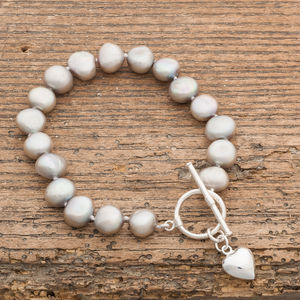 Freshwater Pearl Bracelet With Puffed Silver Heart - bracelets & bangles
