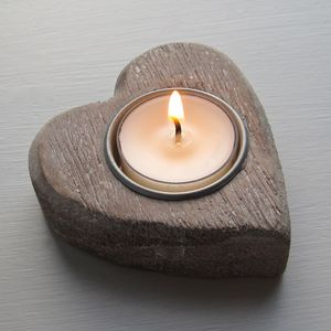 Heart Wooden Candle Holder - garden sale