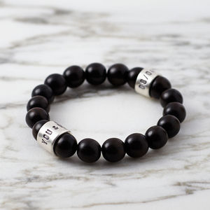 Personalised Ebony And Silver Bead Bracelet