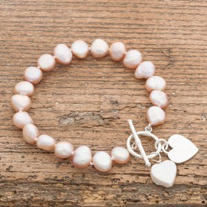 Freshwater Pearl Bracelet With Flat Silver Heart - view all sale items