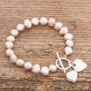 Freshwater Pearl Bracelet With Flat Silver Heart