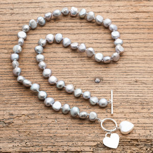 Freshwater Pearl Necklace With Silver And Pearl Hearts - necklaces & pendants
