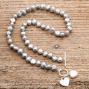 Freshwater Pearl Necklace With Silver And Pearl Hearts