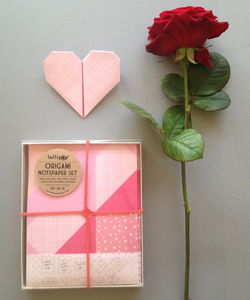 Origami Notepaper Set : Heart - finishing touches