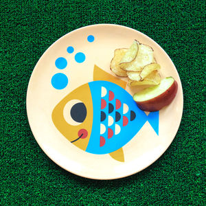 Retro Design Fish Melamine Plate - children's tableware