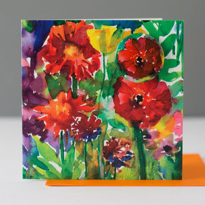 Bright Flowers Card With A Badge To Wear