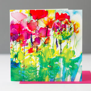Flower Festival Card With A Badge To Wear - cards, ribbon & wrap