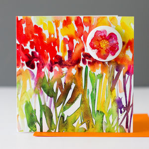Watercolour Flowers Card With A Badge To Wear