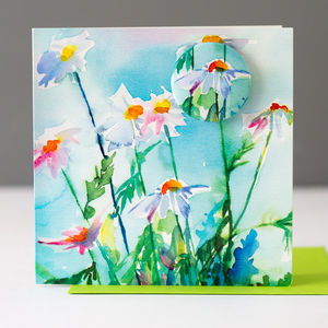 Daisy Card With A Badge To Wear - birthday cards