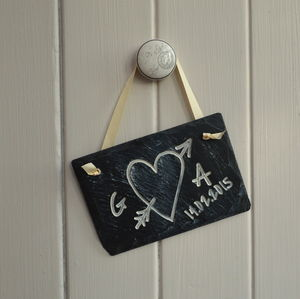 Personalised Love Heart Carved In Slate