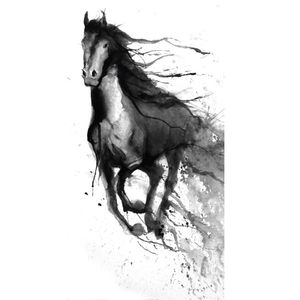 Black Horse Painting On Canvas