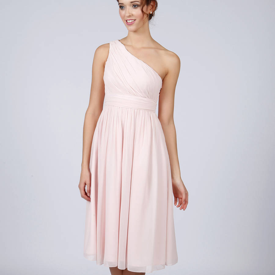 Knee length one shoulder bridesmaid or prom dress by matchimony pale pink ombrellifo Image collections