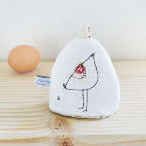 Embroidered Hen Egg Cosy - egg cups & cosies