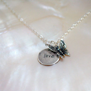 Love Is Like A Butterfly Silver Charms Pendant - christening jewellery