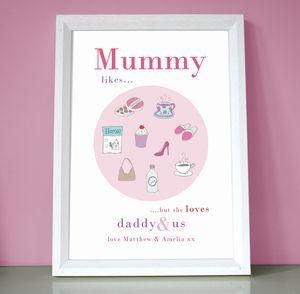 Personalised Mum, Mummy Or Nanny 'Likes' Print